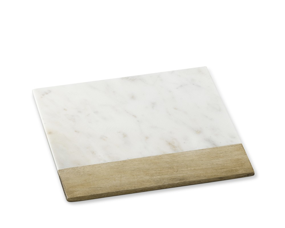 rectangular marble and wood cheese board