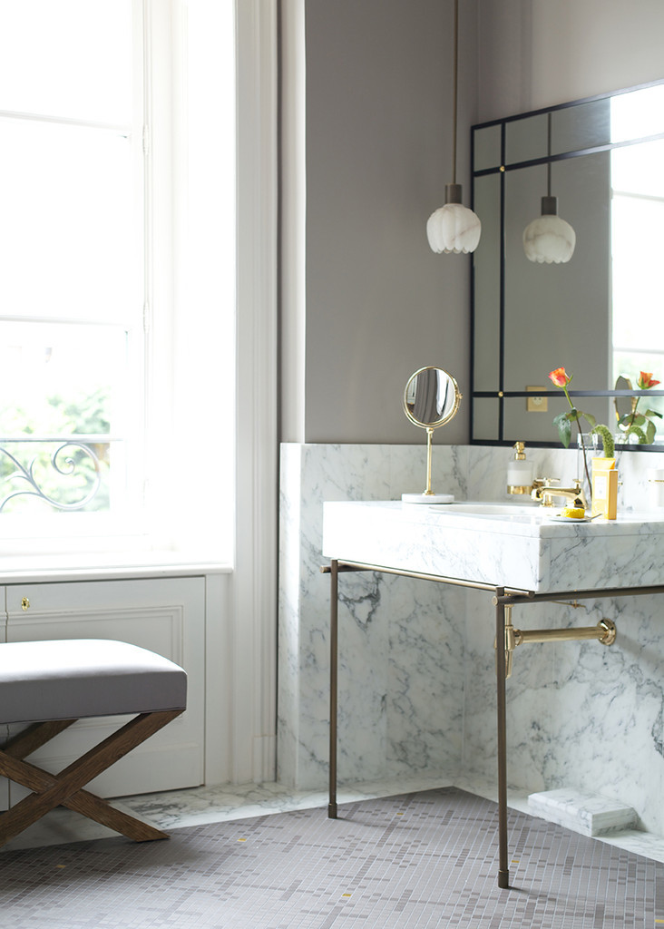 Marble pedestal sink bathroom vanity