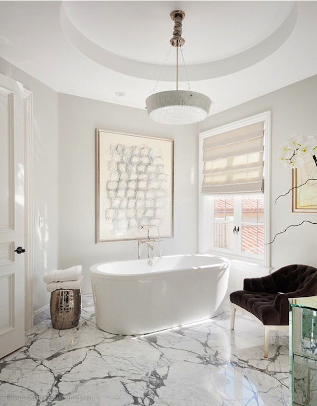 White marble bathroom floor