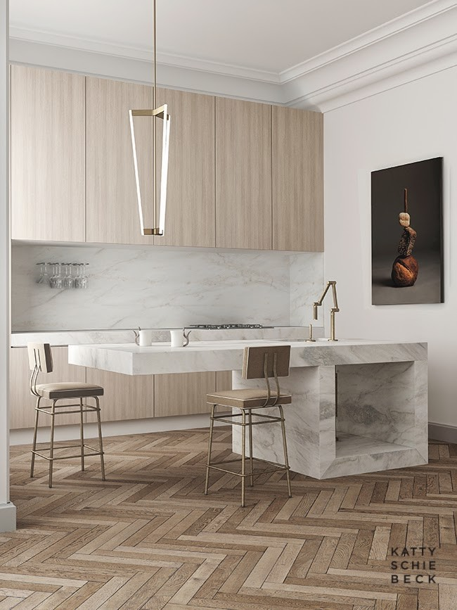 cantilevered marble kitchen counter