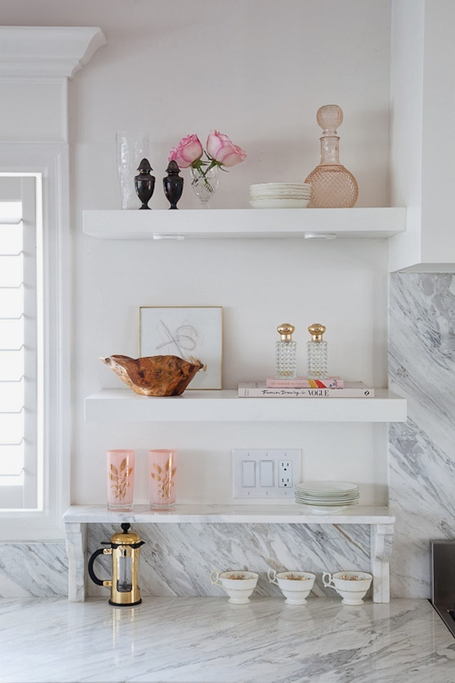 Marble kitchen countertops open shelves