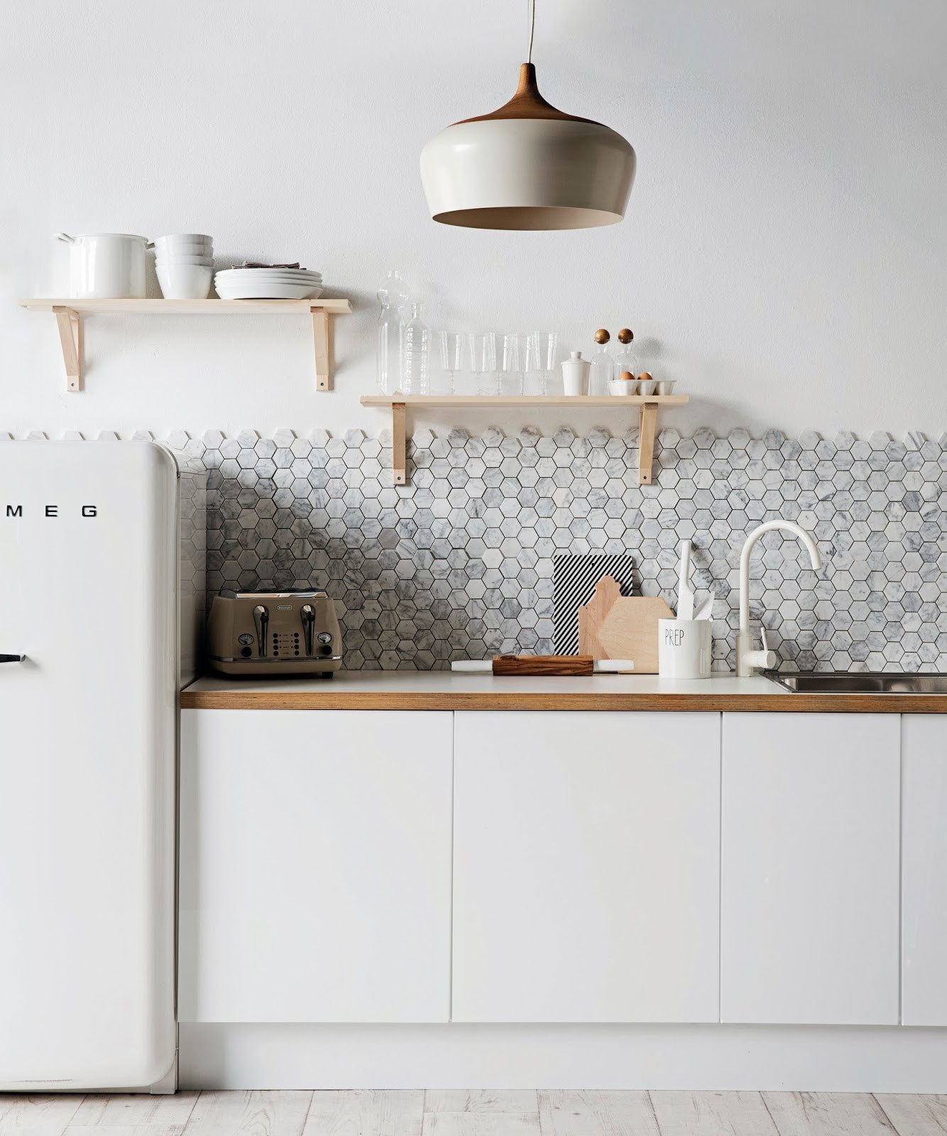 Marble mosaic kitchen backsplash