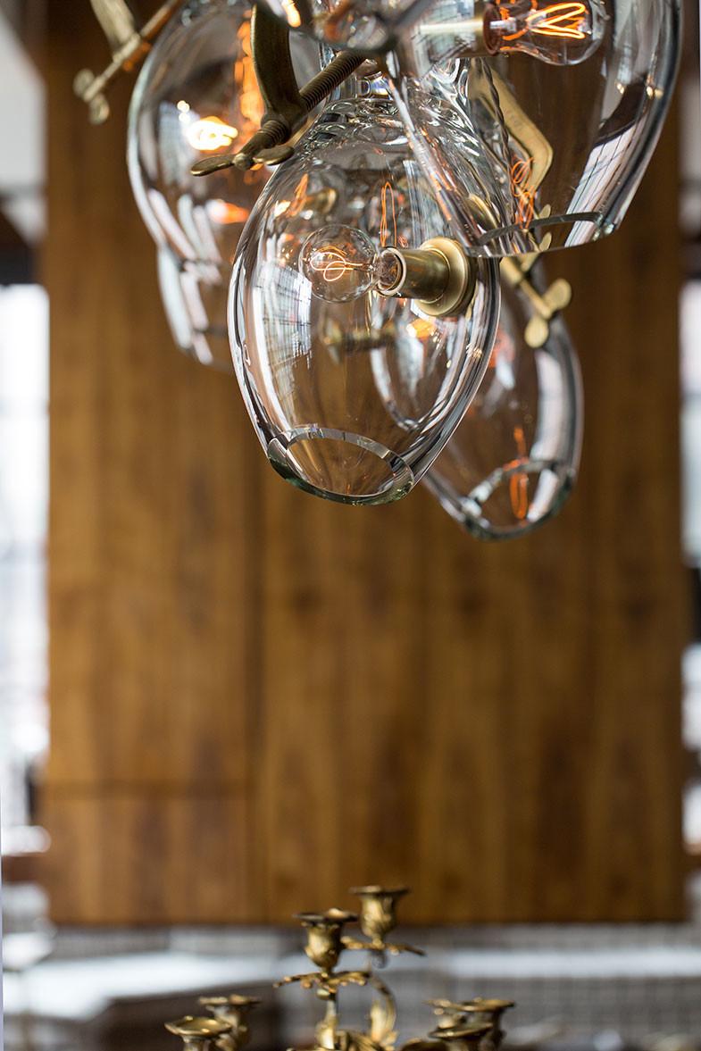 hand-blown glass ball chandelier