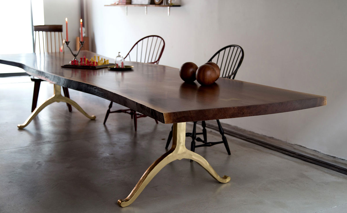 Live Edge dining table gold base
