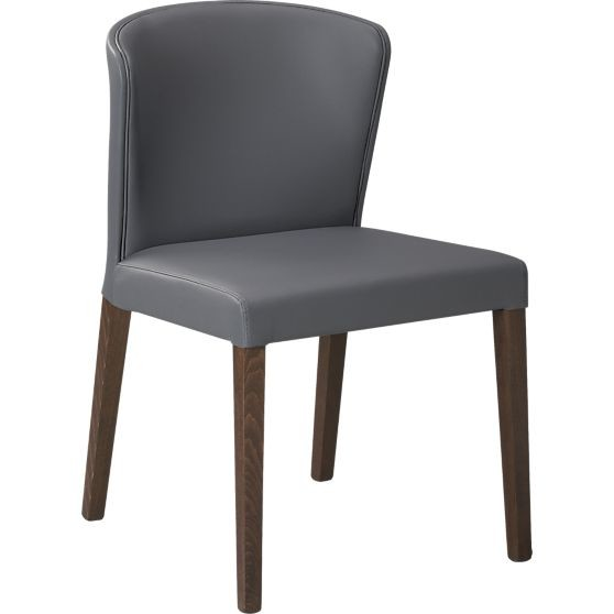 gray dining chair with curved back