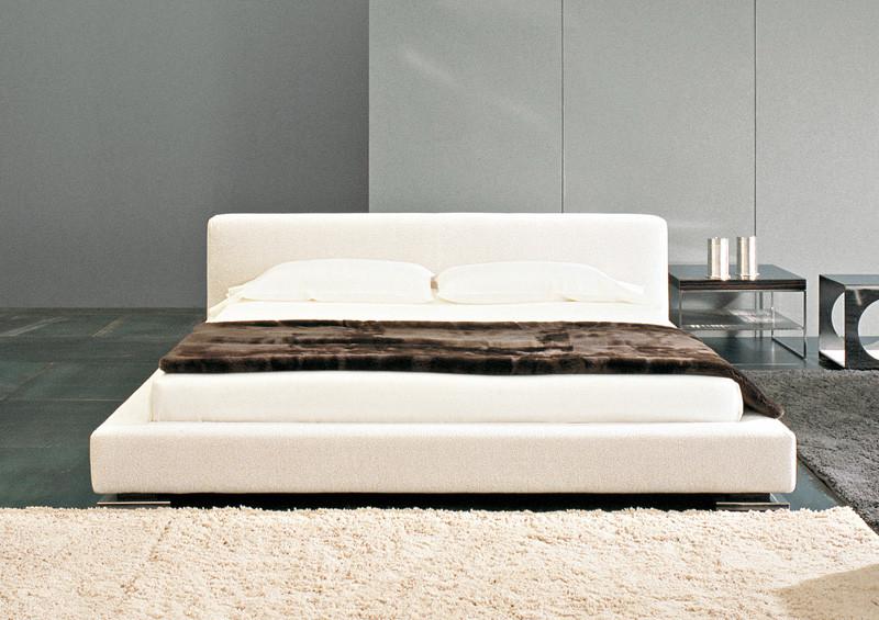 upholstered white modern bed frame