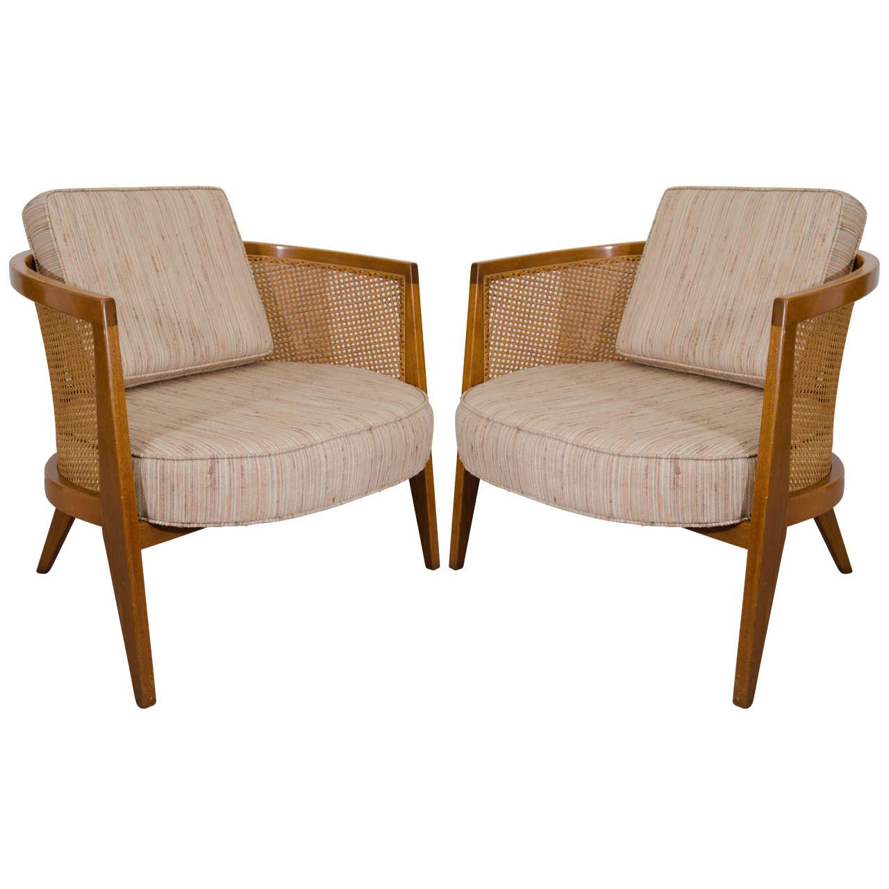 Mid-century cane armchair