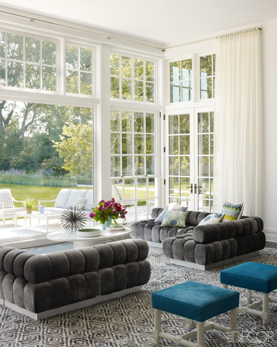 Retro charcoal tufted sofas