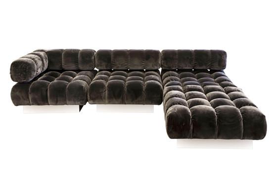 dark gray velvet tufted sofa