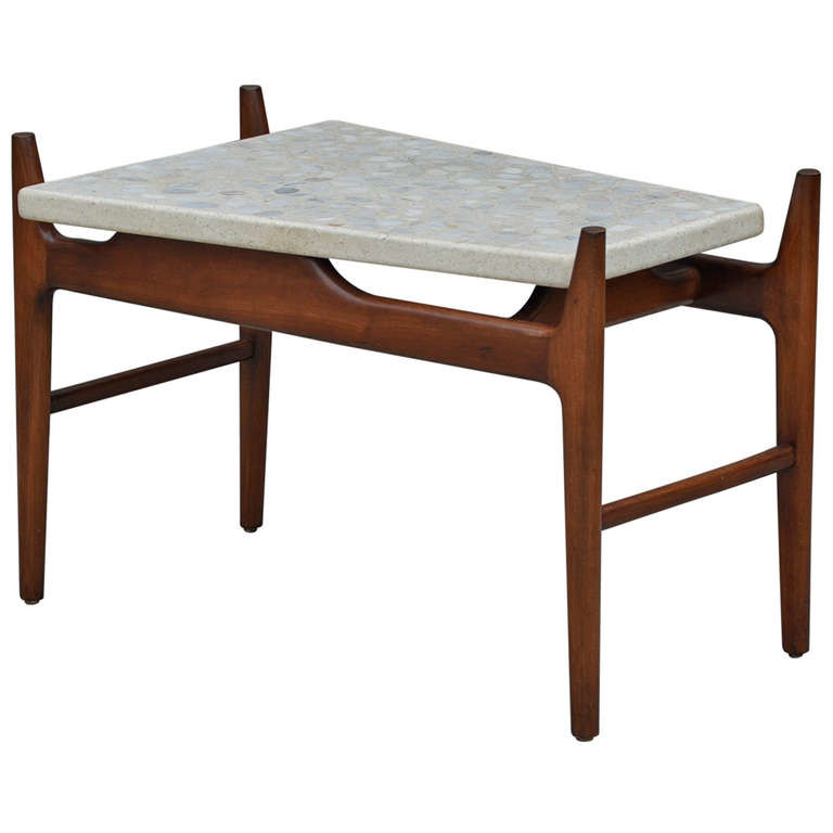Mid-century marble and wood side table