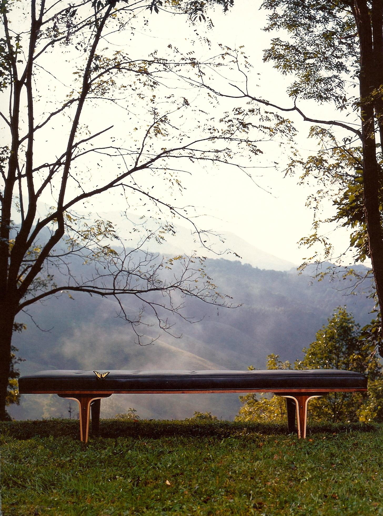 Mid-century leather bench