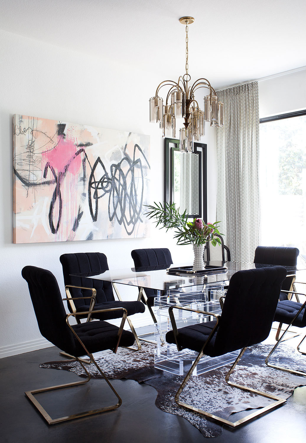 mid-century black dining room chairs