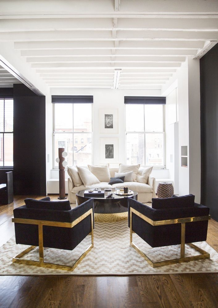 black armchair with golden frame
