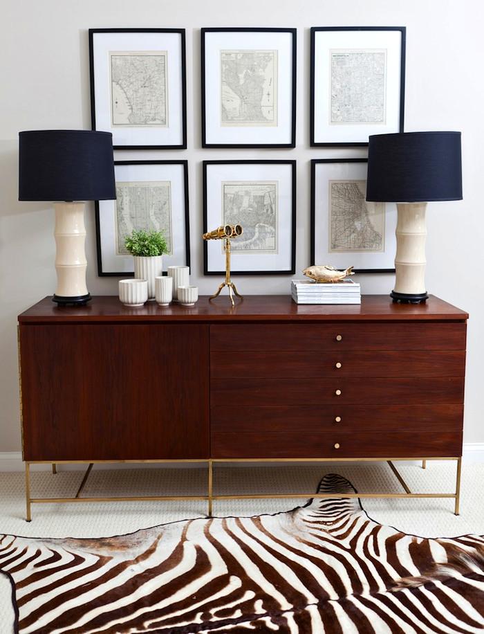 Mid century modern wood sideboard with brass legs
