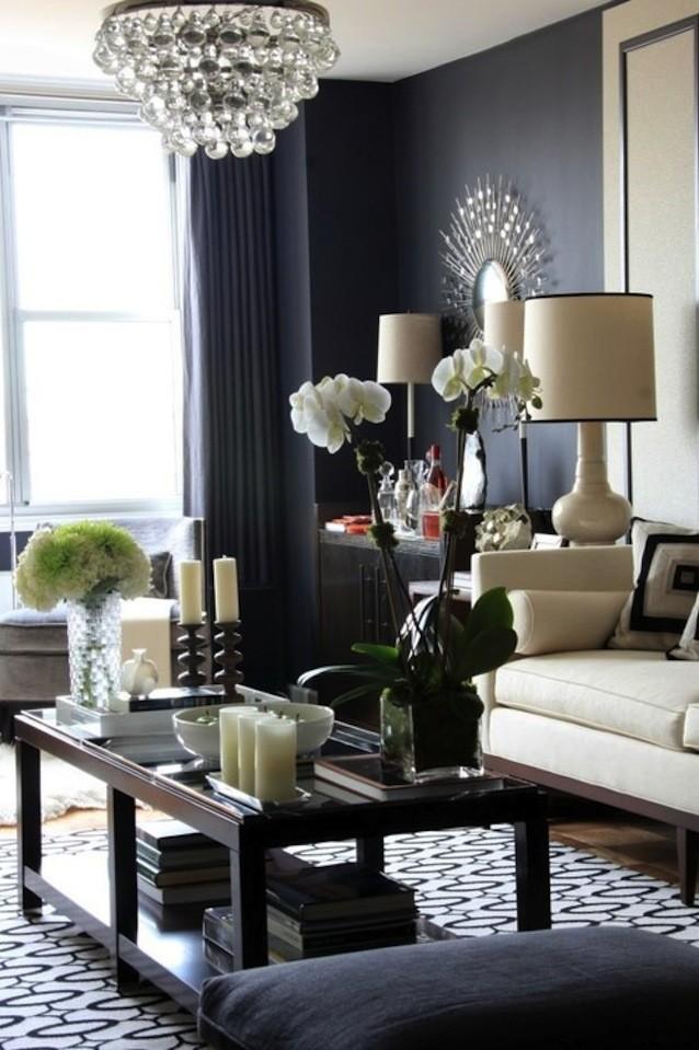 black wall white sofa living room