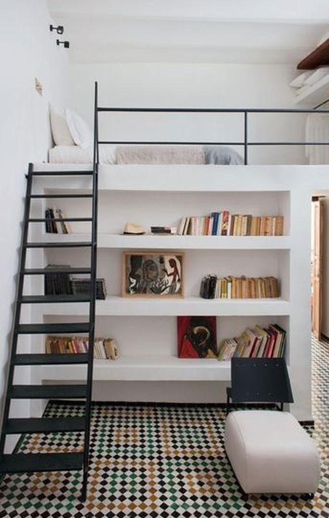 Loft bed shelf storage