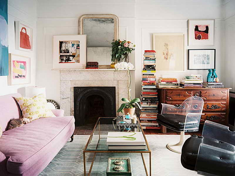pink sofa living room office space