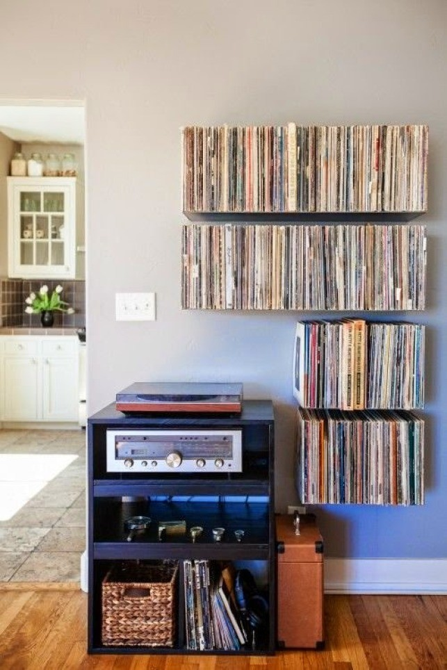 Storage solution for record shelves