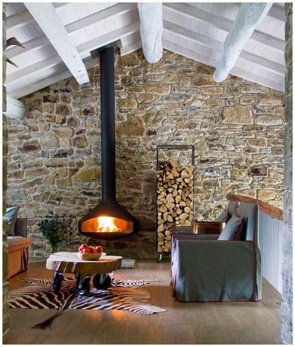 Wood stove stone wall