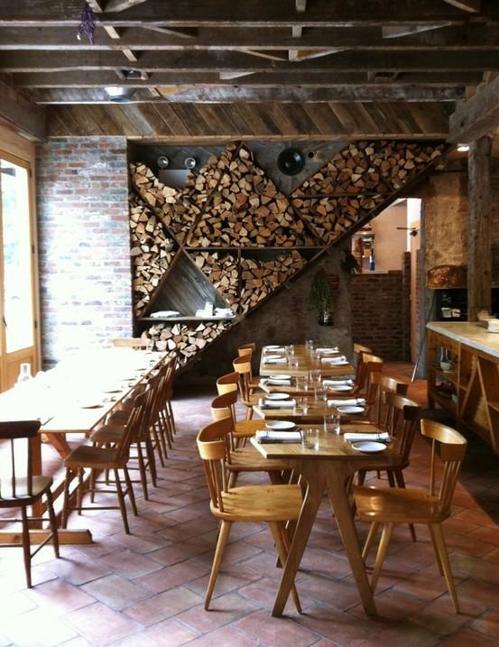 Firewood storage in wall restaurant design