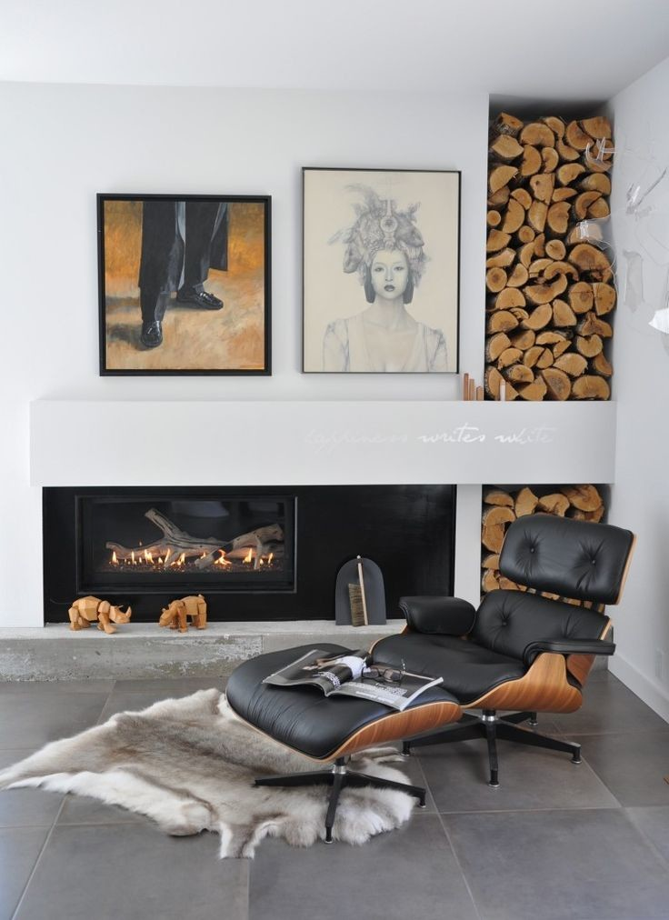 eames chair fireplace log storage