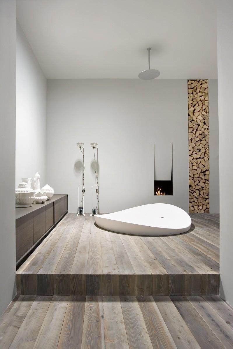 modern bathroom with fireplace