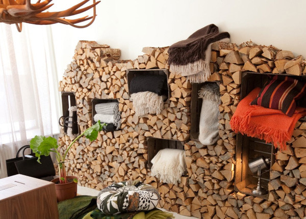 stacked firewood with display shelf