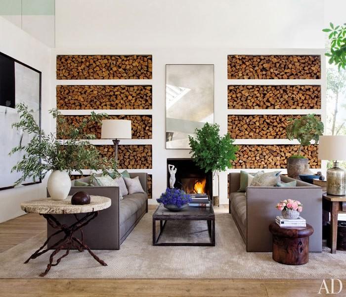 Firewood storage celebrity living room