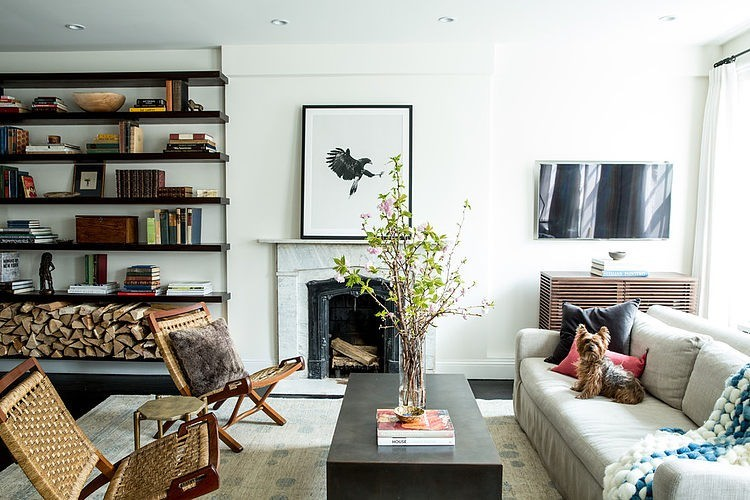 Firewood in the bookcase living room design