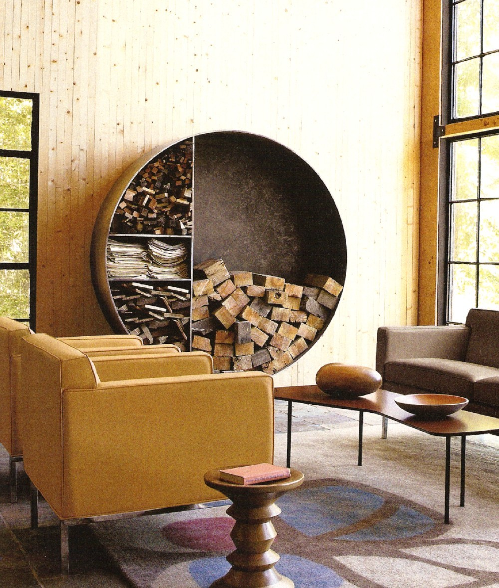 round firewood sculpture living room