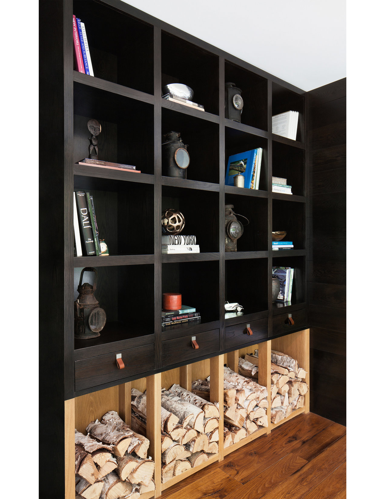 black closet firewood storage