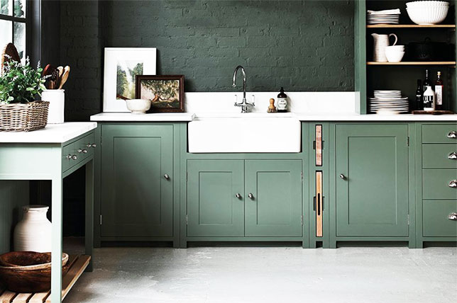 Sage green color cabinets kitchen decor