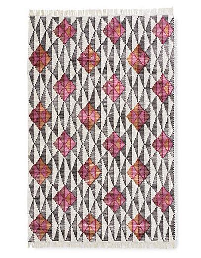 black white pink kilim rug