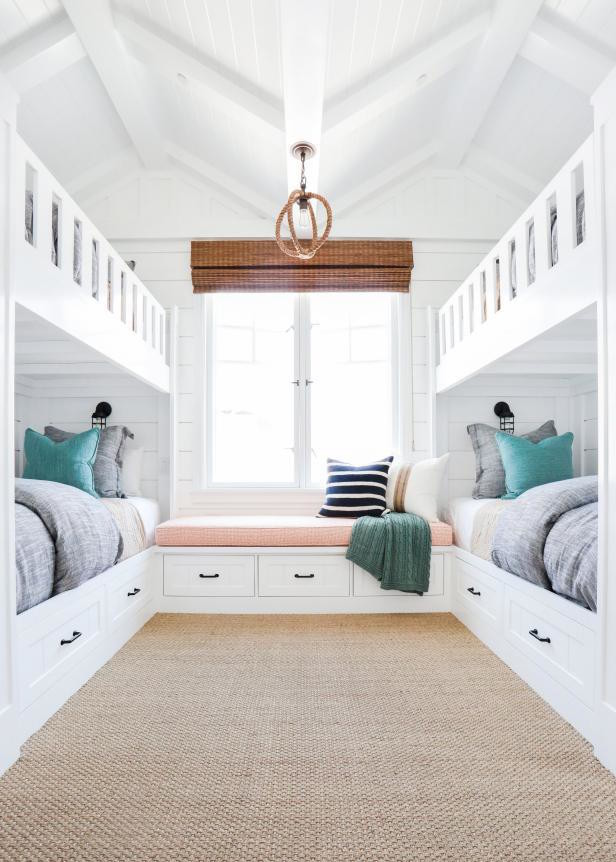 white bunk beds window seat