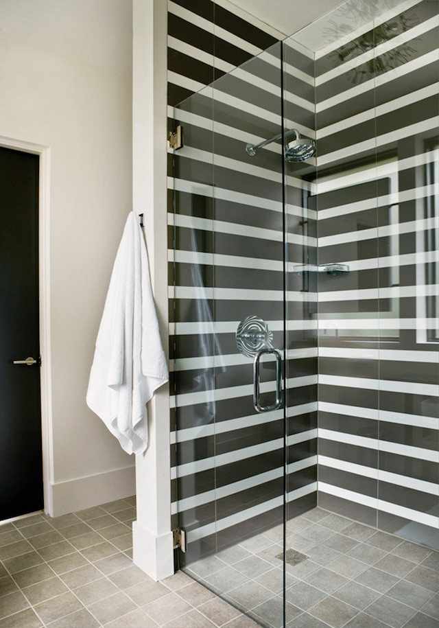 black and white striped shower tile