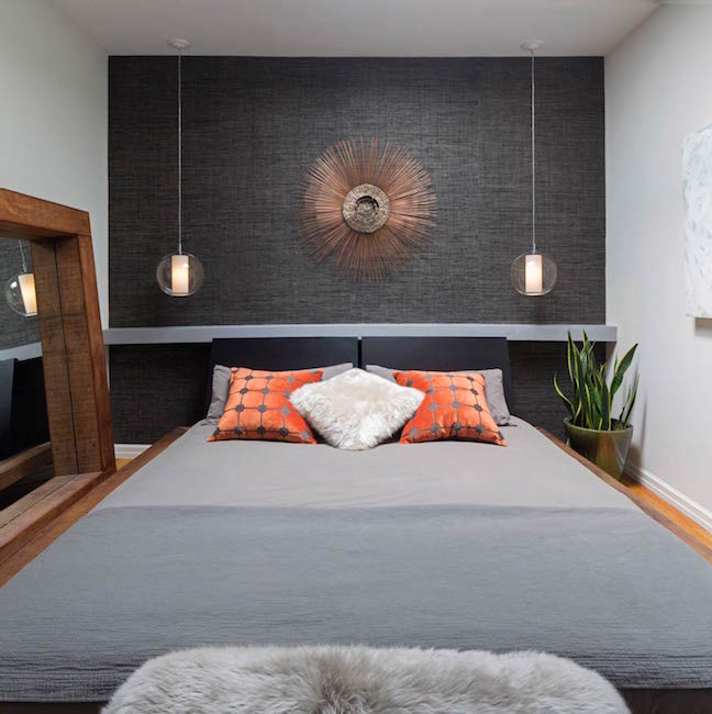 Bedroom accent wall gray