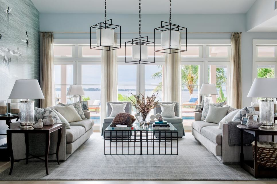 light blue living room beach house