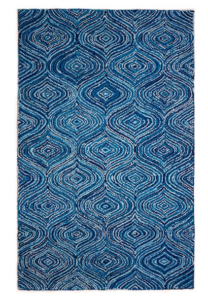 blue carpet made from recycled cotton