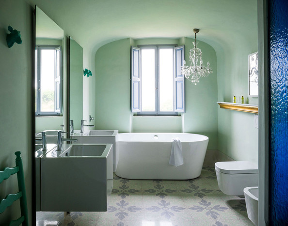 Eclectic mint green bathroom