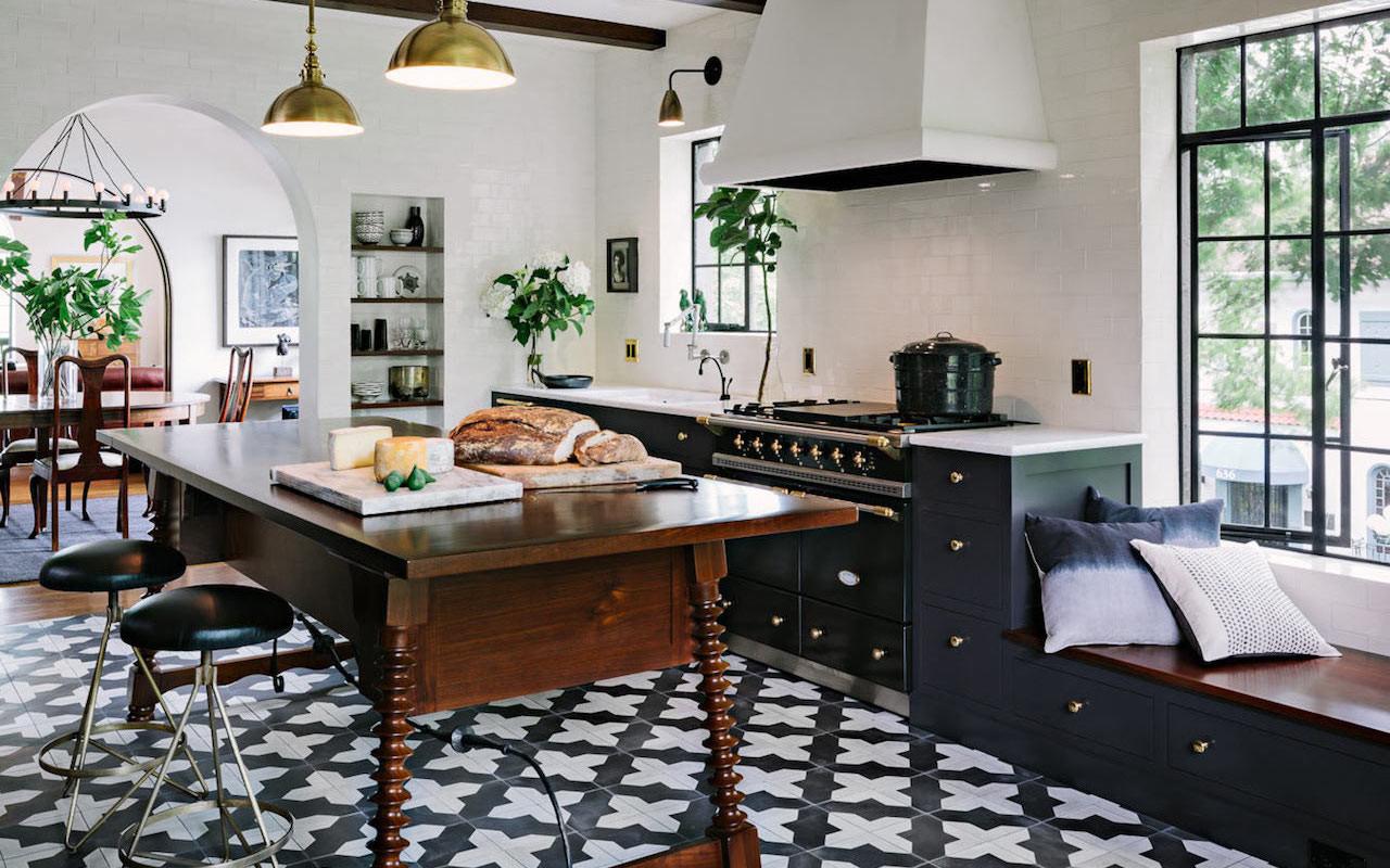 Black and white Spanish encaustic tile