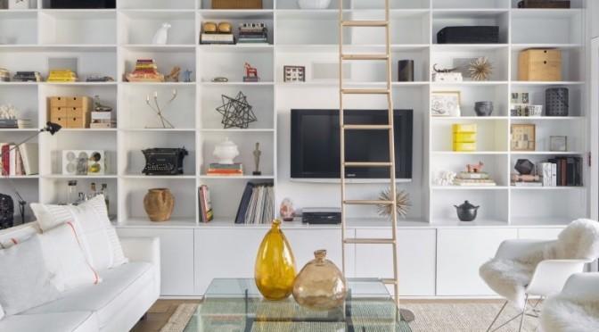 White shelves with ladder design