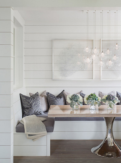 white shiplap breakfast nook