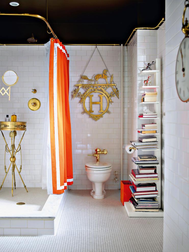 orange shower curtain gold bathroom accents
