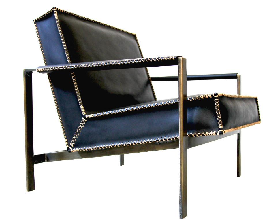 Morgan Clayhall black leather armchair
