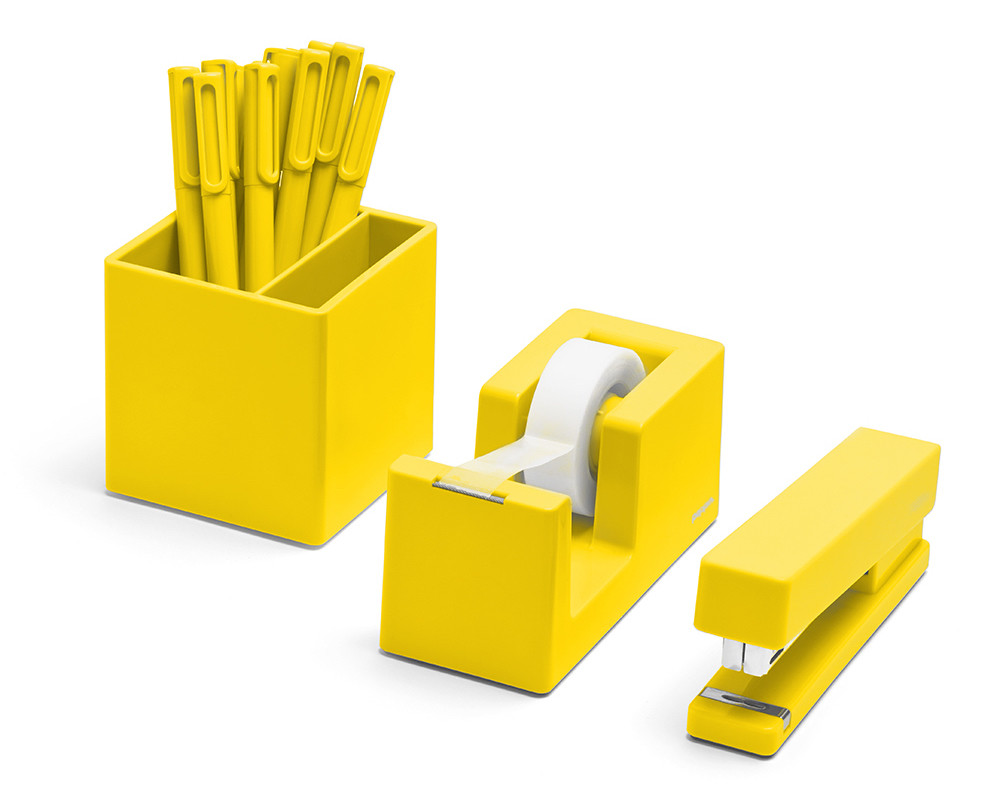 Yellow desk accessories