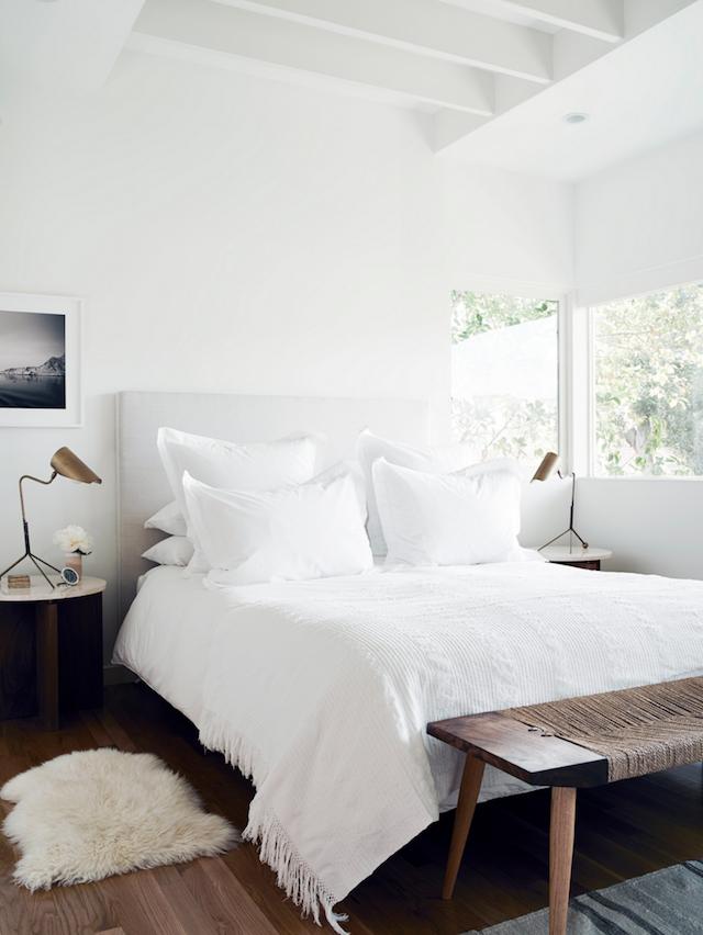 white bedroom mid-century lamps