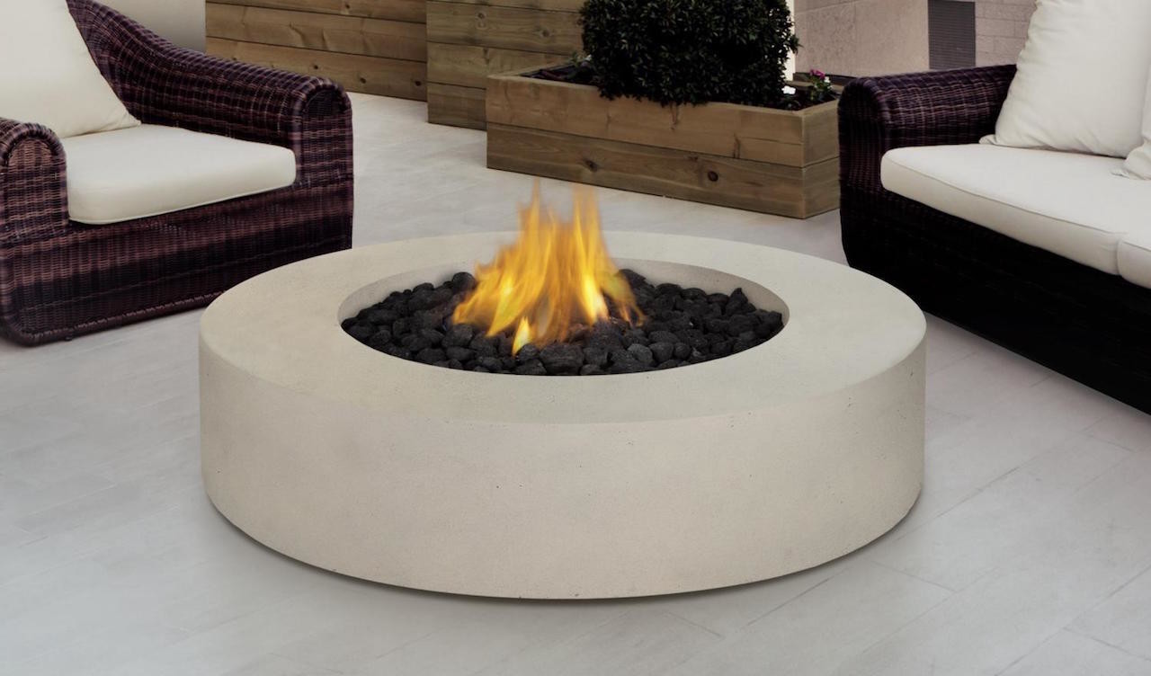 Round white fire pit table
