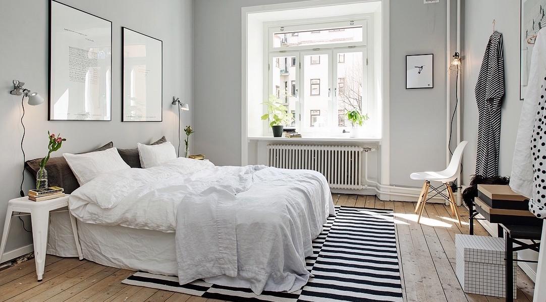 Black white & gray bedroom
