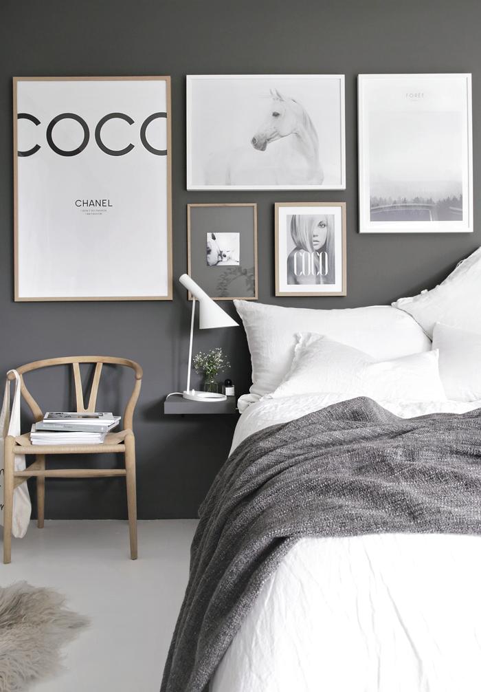 Gallery wall gray bedroom