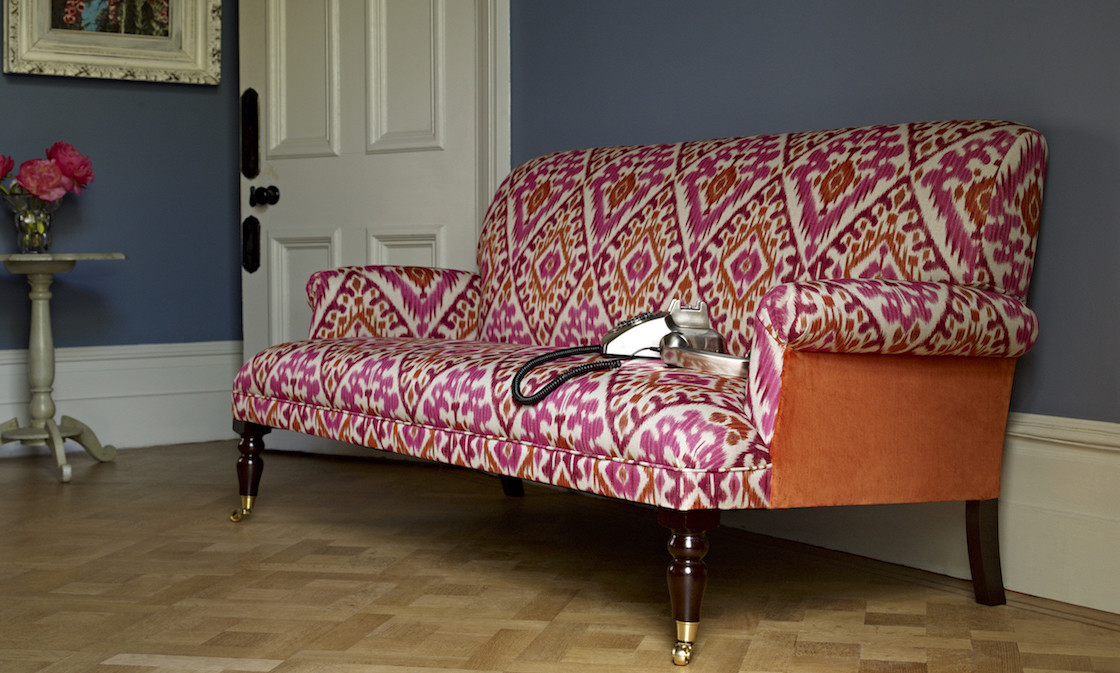 Pink patterned sofa